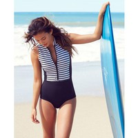 White Blue Striped One Piece