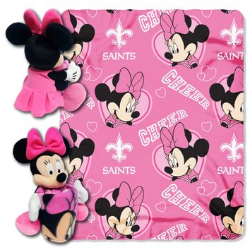 "Saints OFFICIAL National Football League & Disney Cobranded, 14"" Minnie Mouse Character Pillow and 40""x 50"" Fleece Throw Set  by The Northwest Company"