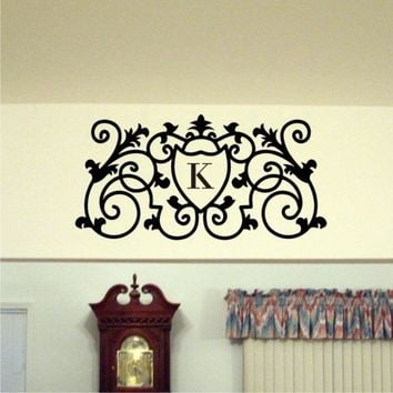 Personalized Monogram Vinyl Wall Art Decal Scrolled Wall Decal