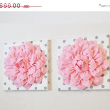 "MOTHERS DAY SALE Two Wall Flowers -Light Pink Dahlia on White with Grey Polka Dots 12 x12"" Canvas Wall Art- Baby Nursery Wall Decor-"