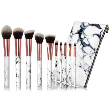 10 Pieces Marble Makeup Brushes Set With Cosmetic Zipper Bag