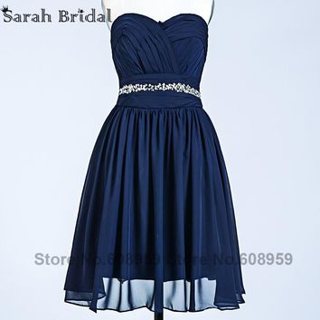 Navy Blue Bridesmaid Dresses 2017 Real Photo Sweetheart Bead Sequins Pleated Chiffon Short Wedding Occasion Party Vestido SD245