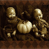 CREEPY DOLL CARDS Halloween Greeting Horror Haunting Monster Zombie Scary Altered Art Doll Print Halloween By L.Cerrito Dark Art