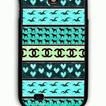 Samsung Galaxy S4 Case - Rubber (TPU) Cover with red hollister seagulls chanel sign hearts stripes Rubber Case Design