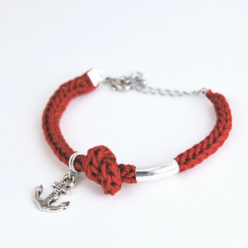Anchor bracelet, red bracelet with anchor charm and knot, nautical bracelet
