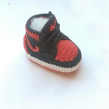 Crochet baby Nike sneakers, Nike Air Jordan baby shoes, Inspired baby crochet booties,