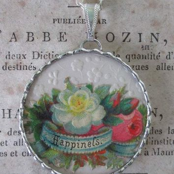 HAPPINESS Antique Victorian Paper Pendant With Necklace - One of a Kind!