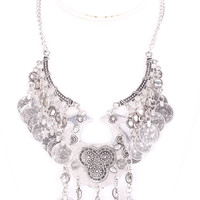 Silver Geometric Pendants Gypsy Statement Necklace