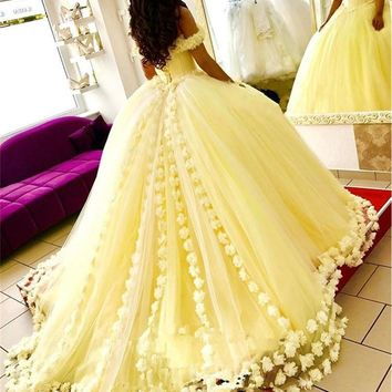 Yellow 3D Floral Flowers Off Shoulder Sweet 16 Plus Size Princess Tulle Masquerade Prom Dress