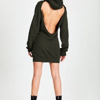 Milan Backless Hoodie Mini Dress