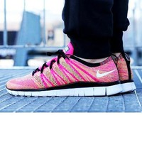 """NIKE"" Trending Free Knit Fly Line Fashion casual sports shoes Pink"