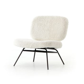 DAVID ACCENT CHAIR - IVORY ANGORA