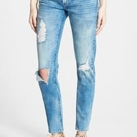 Women's BLANKNYC 'Good Vibes' Distressed Skinny Jeans (Medium Wash Blue)