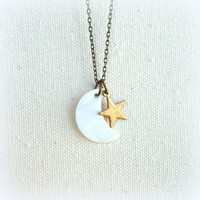 Mother of pearl moon necklace shell moon with star rustic cottage chic white jewelry