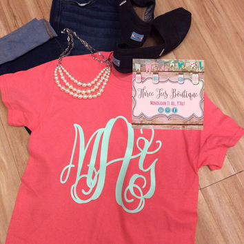 Monogram T-Shirt. Custom TShirt Preppy Monogram Tee Monogrammed T Shirt Over Sized Monogram T-Shirt Bride or Bridesmaid Monogrammed Gifts