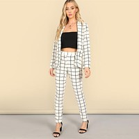 Fashion Shawl Collar Plaid Blazer Tapered Pants Set Women Elegant Workwear Plaid Blazer 2 Piece Set