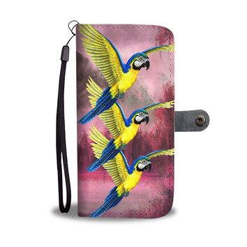 Blue And Yellow Macaw (Blue And Gold Macaw) Parrot Print Wallet Case-Free Shipping
