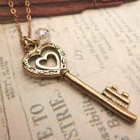 Heart Key Necklace with crystal accent by trinketsforkeeps on Etsy