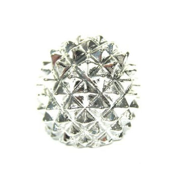 Hedgehog Spike Ring Size 6 Glam Punk Silver Tone Pyramid Stud RH17 Cocktail Statement Fashion Jewelry