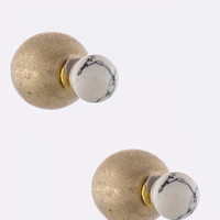 White Crackled Stone Double-Sided Earrings