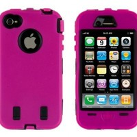 Generic Body Armor Case for iPhone 4 - Non-Retail Packaging - Hot Pink/Black