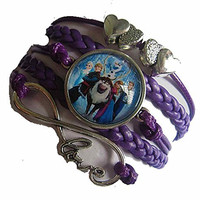 Frozen Cast on Purple Leather Girls Multi Strand Bracelet (Love, Eternity, Hearts)