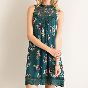 Martinis and Moonlight Lace Sleeveless Dress - Floral Hunter Green
