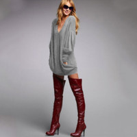 Plain Loose V Neck Long Sleeve  Shirt