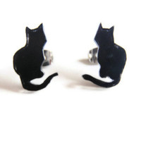 Cheeky sitting cat earrings - Black Cat Studs