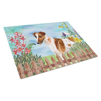 Smooth Fox Terrier Spring Glass Cutting Board Large CK1209LCB