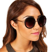 Black/Bronze Round Vintage Sunglasses