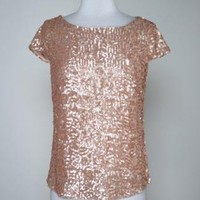 Gold Sequin Top with Cap Sleeves