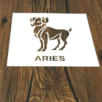 1PC Aries Constellations Shaped Reusable Stencil Airbrush Painting Art DIY Home Decor Scrap booking Album Crafts