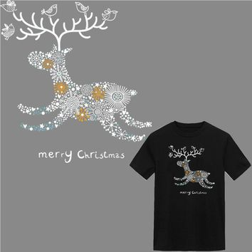 christmas deer applique stickers iron on patches for clothing transfert thermocollants t-shirt jeans parches termoadhesivos ropa