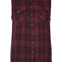 Sleeveless Check Shirt - Tops  - Clothing