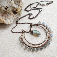 Dew cut labradorite horseshoe necklace, faceted blue grey rondelles, wire wrapped hammered brass double crescent pendant,