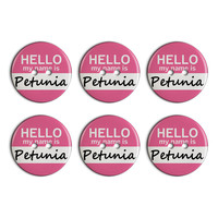 Petunia Hello My Name Is Plastic Resin Button Set of 6
