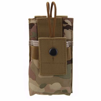 Military Tactical Nylon MOLLE Radio Hunting Holder Walkie Talkie Holster Open Top M4 Mag Pouch for Outdoor Sports