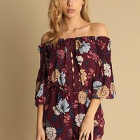 Fall Weather Floral Print Romper | Threadsence