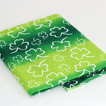 "Over 2 Yds Green Fabric with Shamrocks | 4 Leaf Clover Fabric | St Patrick's Day Fabric | Green Shamrock Material | ""Irish Spirit #9766"""