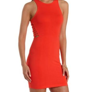 Poppy Red Caged Bodycon Tank Dress by Charlotte Russe