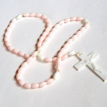 Vintage Child Rosary Necklace Pink Prayer Beads White Cross