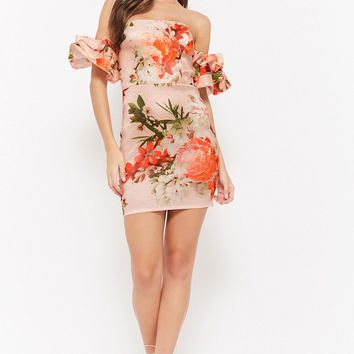 Floral Off-the-Shoulder Homecoming Dress