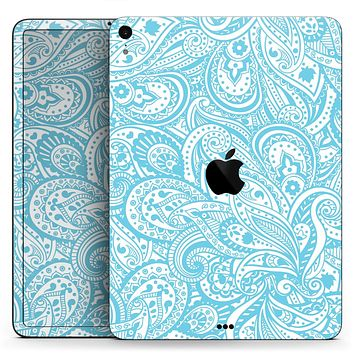 "Light Blue Paisley Floral Pattern V3 - Full Body Skin Decal for the Apple iPad Pro 12.9"", 11"", 10.5"", 9.7"", Air or Mini (All Models Available)"