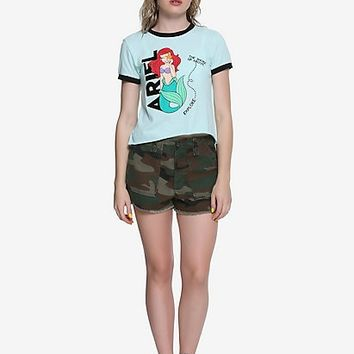 Disney The Little Mermaid Ariel Flocked Girls Crop Ringer T-Shirt
