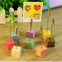 8pcs Pine Base Photo Holder Stand Card Note Desk M