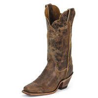 Justin Womens Cracked Finish Tan Road Bent Rail Western Boots