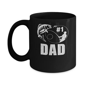 #1 Dad Fishing Fisherman Best Fathers Day Gift Mug