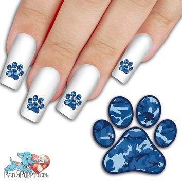 Blue Camo Paw Print - Nail Art Decals (Now! 50% more FREE)