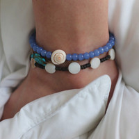 Periwinkle Sapphire Sea Shell Anklet